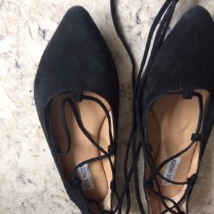 Never Worn Black Suede Flat lace up shoes  Size 7.